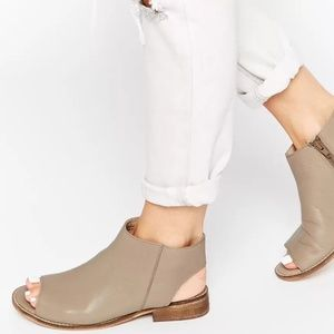 8ddc32c4c0 ASOS AALIYA Leather Peep Toe Ankle Boots